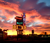 Davie's Chuck Wagon Diner Neon Sign at Sunrise