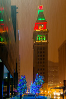Fisher Tower Denver with Holiday Light Reflection
