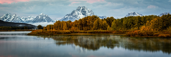 Oxbow Bend Foggy Morning Fall Reflection