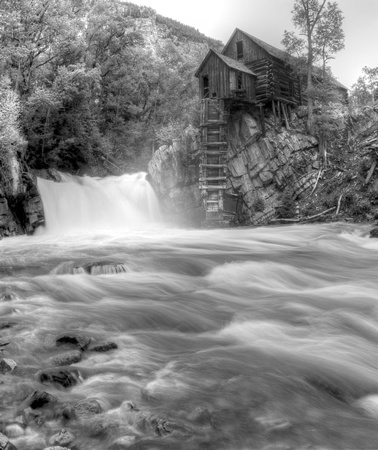 Crystal Mill Black and White Waterfall with Spring Run Off