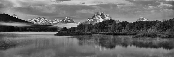 Oxbow Bend Foggy Morning Black and White